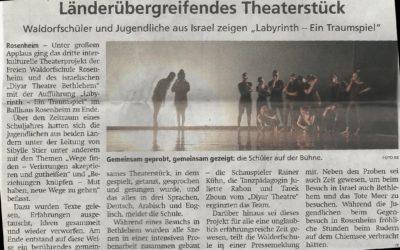 """Schöne Kritik von unserem Theaterstück """"Labyrinth"""""""